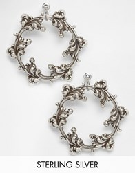 Regal Rose Dark Wreath Sterling Silver Plated Hoop Earrings Silver
