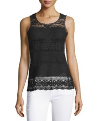 Laundry By Shelli Segal Floral Diamond Lace Tank Black