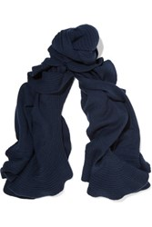 Magaschoni Ruffle Trimmed Cashmere Scarf Navy