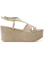 L'autre Chose Suede Wedge Sandals Green