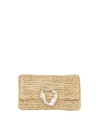 Flora Bella Esplendor Raffia Metallic Clutch Bag Natural Gold