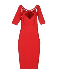 Guess By Marciano Knee Length Dresses Red