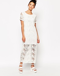 The Whitepepper Longline Lace Dress Ivory