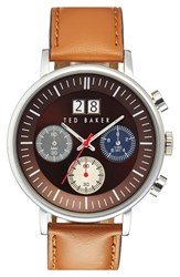 Men's Ted Baker London Chronograph Leather Strap Watch 42Mm