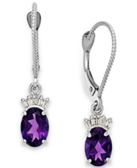 Macy's Amethyst 1 5 8 Ct. T.W. And Diamond Accent Earrings In 14K White Gold