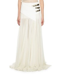 Lanvin Triple Buckle Long Wrap Skirt Ivory