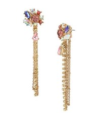Betsey Johnson Floral Crystal Multi Chain Linear Earrings Gold
