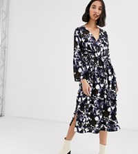 Native Youth Exclusive Smock Dress With Tie Waist In Abstract Smudge Print Multi