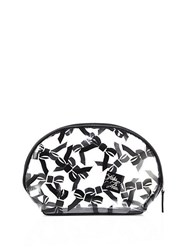 Saks Fifth Avenue Large Tossed Bow Cosmetic Case Black