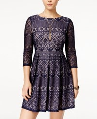 B. Darlin B Juniors' Lace Fit And Flare Dress Navy Blush