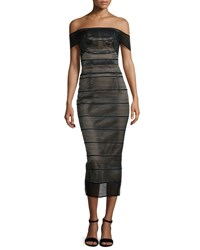 Rachel Gilbert Stretch Bandage Midi Dress Black