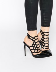 Asos Passenger Pointed Caged Heels Black