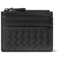 Bottega Veneta Intrecciato Leather Zipped Cardholder Black