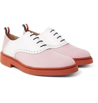 Thom Browne Two Tone Nubuck And Leather Oxford Shoes Pink