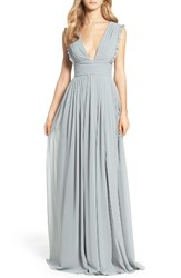 Monique Lhuillier Bridesmaids Women's Deep V Neck Ruffle Pleat Chiffon Gown Sea