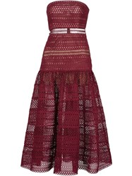 Self Portrait Strapless Lace Bustier Dress Red