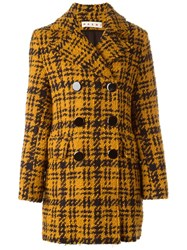 Marni Houndstooth Double Breasted Coat Yellow And Orange