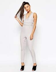 Missguided Whip Stitch Plunge Neck Jumpsuit White
