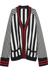 Haider Ackermann Striped Wool And Cashmere Blend Cardigan Black