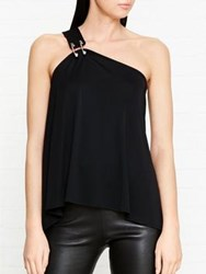 Versus By Versace Safety Pin Detail One Shoulder Top Black