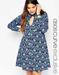 Asos Curve Babydoll Dress With Keyhole In Deco Print Multi