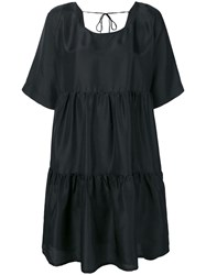 P.A.R.O.S.H. Tiered Short Sleeve Dress Black