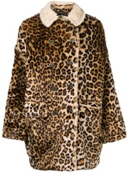 R 13 R13 Leopard Print Oversized Coat Nude And Neutrals