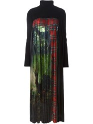 I'm Isola Marras Printed Front Pleated Long Dress Black