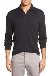 Men's James Perse Long Sleeve Cotton Wool And Cashmere Polo Shirt Nightshade
