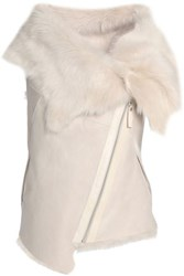 Karl Donoghue Shearling Trimmed Suede Vest Off White Off White