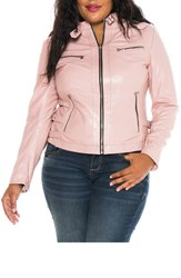 Slink Jeans Plus Size Women's Fitted Leather Moto Jacket Pink