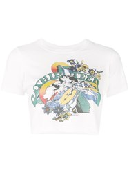 R 13 R13 Cropped Graphic T Shirt White