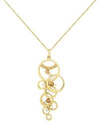 Sis By Simone I Smith 18K Gold Over Sterling Silver Necklace Crystal Multi Circle Drop Pendant