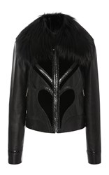 Elie Saab Leather Jacket With Velvet Details Black
