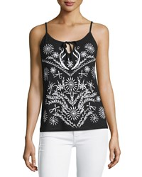 Design History Embroidered Tie Front Tank Onyx White