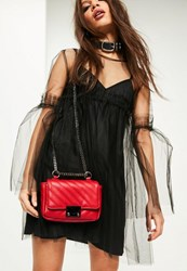 Missguided Red Faux Leather Quilted Cross Body Bag