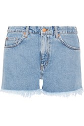 Mih Jeans Halsy Cut Off Denim Shorts Mid Denim