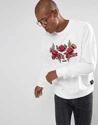 Sixth June Oversized Sweatshirt In White With Floral Logo White
