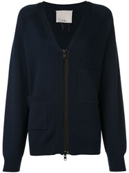 Tibi Compact Wool Blend Cardigan Blue