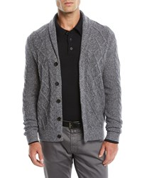 Neiman Marcus Textured Cable Knit Shawl Collar Cashmere Cardigan Black White