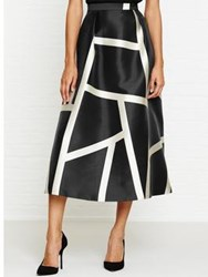 Lk Bennett L.K. Aine Cream Print Full Midi Skirt Black Black Cream