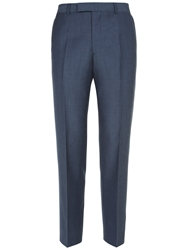 Jaeger Wool Mohair Modern Suit Trousers Mid Blue