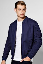 Boohoo Zip Through Cotton Bomber With Ruched Sleeves Navy