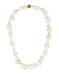 Belpearl White Baroque Pearl Murano Necklace