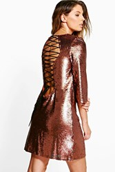 Boohoo Sequin Lace Up Back Detail Shift Dress Rose Gold