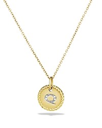 David Yurman Cable Collectibles Initial Pendant With Diamonds In Gold On Chain 16 18 Q