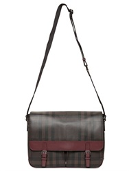 Burberry Check Printed Faux Leather Messenger Bag