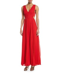 Fame And Partners Side Cutout Accordion Pleated Gown Red
