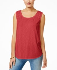 Styleandco. Style And Co. Crochet Trim Sleeveless Blouse Only At Macy's Dark Rose