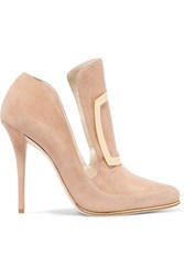 Balmain Buckle Embellished Suede Pumps Beige